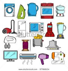 Microwave And Toaster Set Kitchen Appliances Drawing Icon Set Microwave Stock Vector