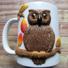 owl mug buy autumn owl mug decor polymer clay on livemaster online shop