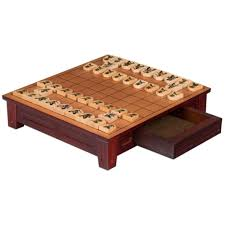 wooden shogi japanese chess table w drawers and chessmen game set