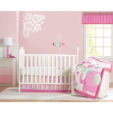 pink and gray elephants 3 piece crib bedding set carousel designs