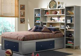 Space Saving Queen Bed Frame Bedroom Amusing Boys Bedroom On Hardwood Flooring Furnished With