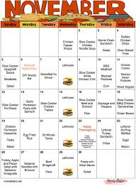 november menu plan with thanksgiving menu meal planner with