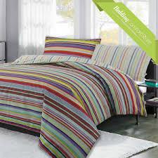 multi color rainbow stripe reversible bedding duvet quilt cover