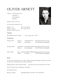 sample of acting resume template cover letter example actor free