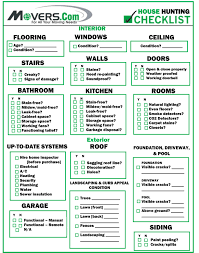 House Checklist | movers com house hunting checklist moverscom movers com