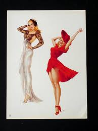 2 old alberto vargas 1941 pin up girls wedding dress ad