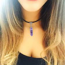 rope necklace choker images Leather chain purple amethyst choker necklace chokers pendants jpg