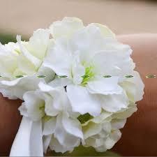 white wrist corsage silk artificial cherry blossom boutonniere wedding decor