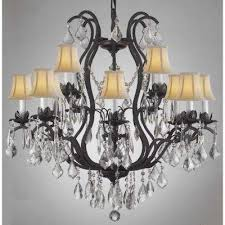 Chandelier With Black Shade And Crystal Drops Black Candle Style Chandeliers Hanging Lights The Home Depot