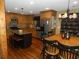 dining room traditional kitchen design with oak kitchen cabinets