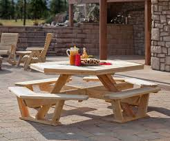 amish pine hexagon picnic table with benches