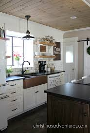Kitchen Cabinets Cottage Style by Sinks Black Hanging Pendant Lights Copper Farmhouse Sink White