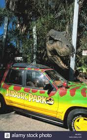 jurassic park car orlando fl universal studios jurassic park dinosaur beside car