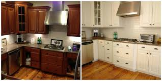 Painted Kitchen Cabinets White Painting Wood Kitchen Cabinets White Before And After Awsrx Com