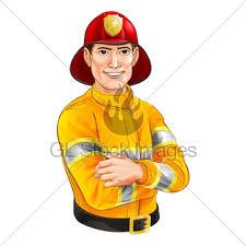 cartoon fireman smiling gl stock images