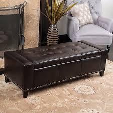 storage ottoman bench brown contemporary studded brown leather storage ottoman bench 127 29