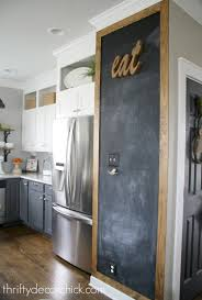 adding some rustic charm to the kitchen chalkboard walls stained frame around chalkboard wall