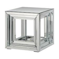 cube mirror side table table silver mirror accent table