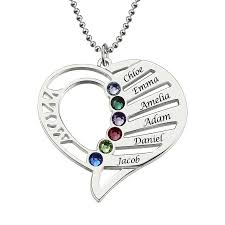 necklace love heart images Mom birthstone necklace gold color silver heart name necklace hand jpg
