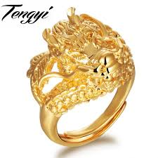 dragon rings gold images Tengyi new animal jewelry classic yellow gold color dragon ring jpg