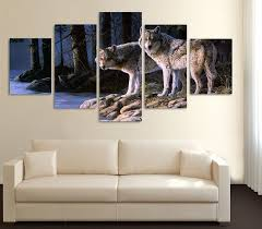Wolf Home Decor by Limited Edition 2 Wolves 5 Piece Canvas Print Wolf Canvases And