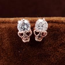 skull stud earrings new fashion vintage stud earrings cz gold color skull stud