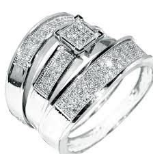 trio wedding sets white gold trio wedding set mens womens wedding rings matching
