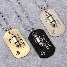 aliexpress men necklace images Army style bullet dog tag pendant necklace women men punk rock hip jpg