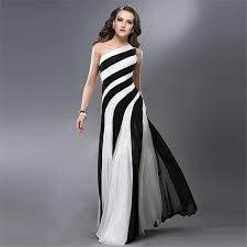 2016 black and white striped prom dress one shoulder women