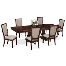 value city furniture dining room tables vienna dining table and 6 upholstered side chairs merlot value
