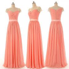 cap sleeve bridesmaid dresses peach bridesmaid dresses chiffon