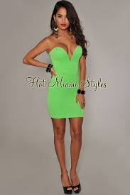 neon green plunging v neck strapless dress