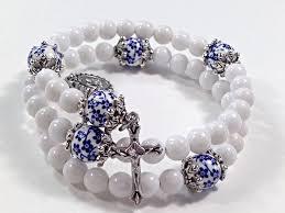 rosary bracelets rosary bracelet white mountain jade blue floral ceramic scapular