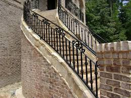Brick Stairs Design Exterior Spiral Outdoor Stair Railing Ideas Using Black Iron