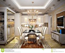 kitchen and dining furniture luxurious classic baroque kitchen and dining room stock