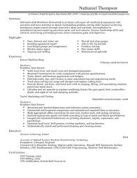 Self Motivated Resume Machinist Cv Example For Production Livecareer
