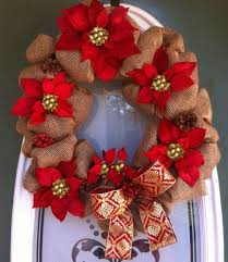 christmas burlap wreaths poinsettia burlap wreath allfreechristmascrafts