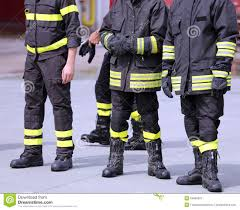 Firefighter Safety Boots by Boots Of Italian Firefighters Inthe Fire Station Stock Photo