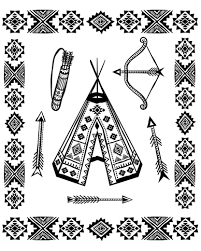 native american tipi and symbols native american coloring