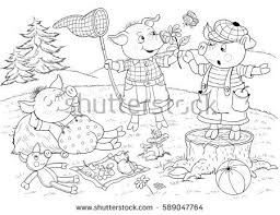 pigs fairy tale cute stock illustration 589047764