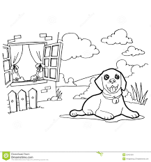 coloring book with dog and window stock vector image 55401991