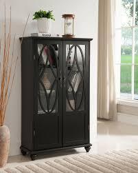 kings brand furniture black finish wood curio bookcase cabinet