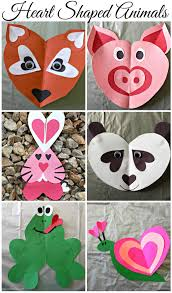 valentine u0027s day heart shaped animal crafts for kids animal