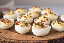 deviled egg serving dish sour and bacon deviled eggs recipe simplyrecipes