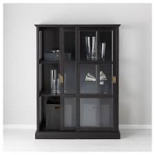 malsjö glass door cabinet black stained 103x141 cm glass doors