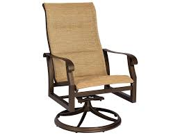Canvas Sling Back Chairs by Woodard Cortland Padded Sling Aluminum High Back Swivel Rocker