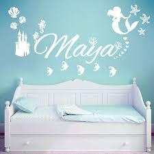 wall designer for girls children personalised name children wall art sticker disney little mermaid ocean castle starfish