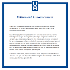 retirement announcement announcements marketing and communication of