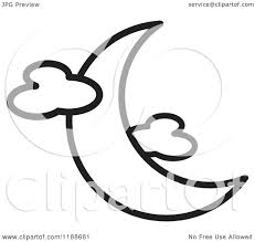 clipart of a black and white crescent moon and clouds icon