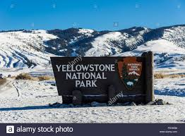 yellowstone national park sign at the entrance in winter snow
